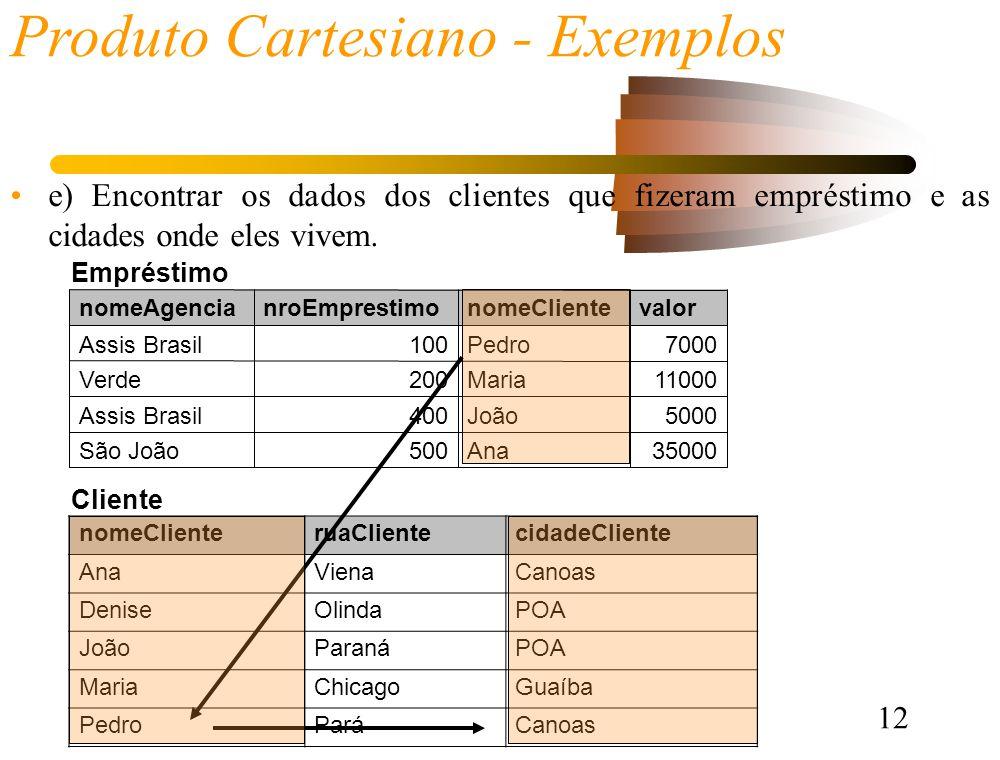 12 Produto Cartesiano - Exemplos e) Encontrar os dados dos clientes que fizeram empréstimo e as cidades onde eles vivem.