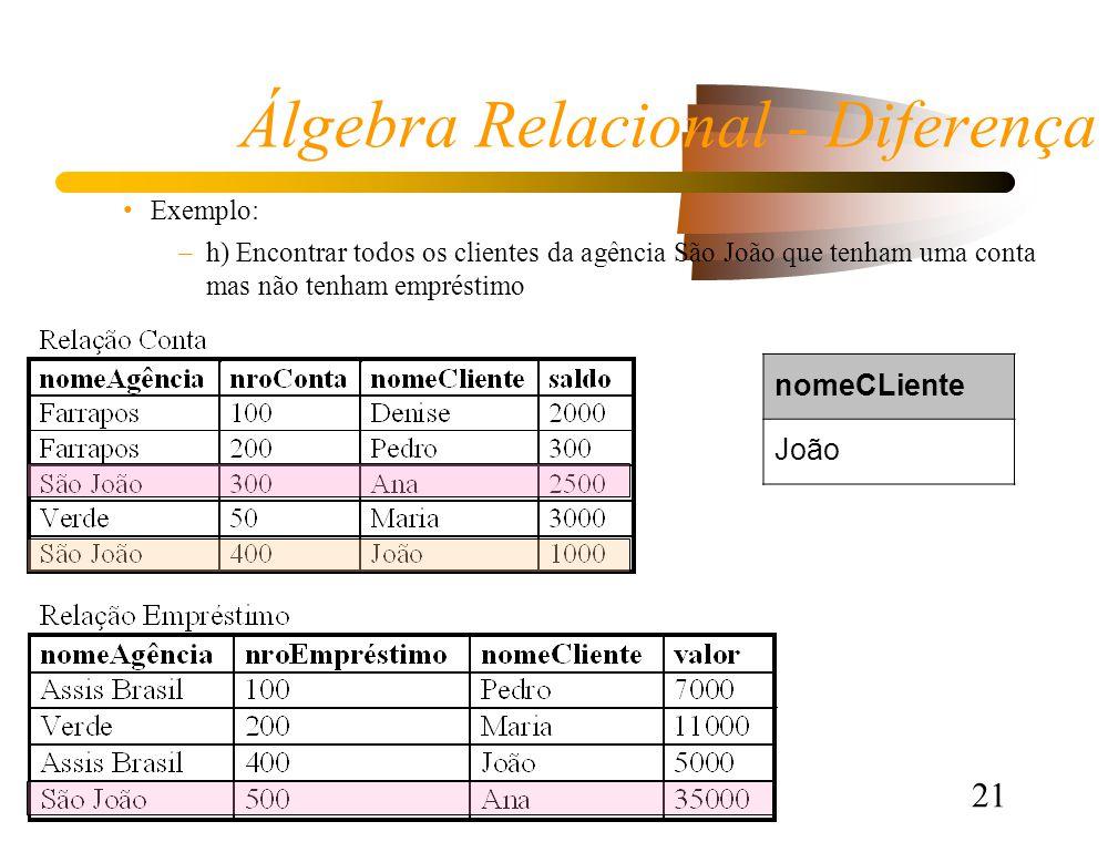 21 Álgebra Relacional - Diferença Exemplo: –h) Encontrar todos os clientes da agência São João que tenham uma conta mas não tenham empréstimo nomeCLiente João