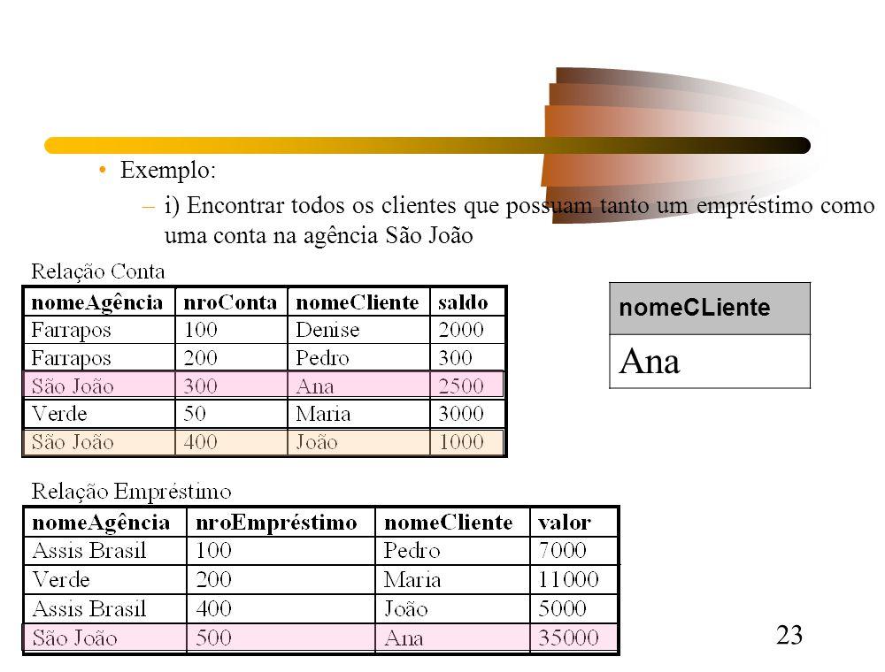 23 Exemplo: –i) Encontrar todos os clientes que possuam tanto um empréstimo como uma conta na agência São João nomeCLiente Ana