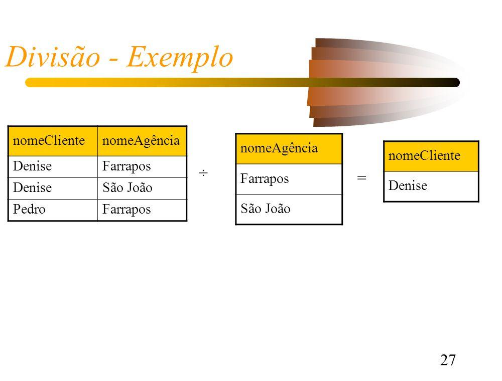 27 Divisão - Exemplo nomeAgência Farrapos São João nomeClientenomeAgência DeniseFarrapos DeniseSão João PedroFarrapos ÷ = nomeCliente Denise