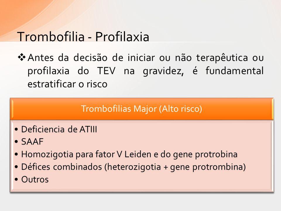 Antes da decisão de iniciar ou não terapêutica ou profilaxia do TEV na gravidez, é fundamental estratificar o risco Trombofilia - Profilaxia Trombofil