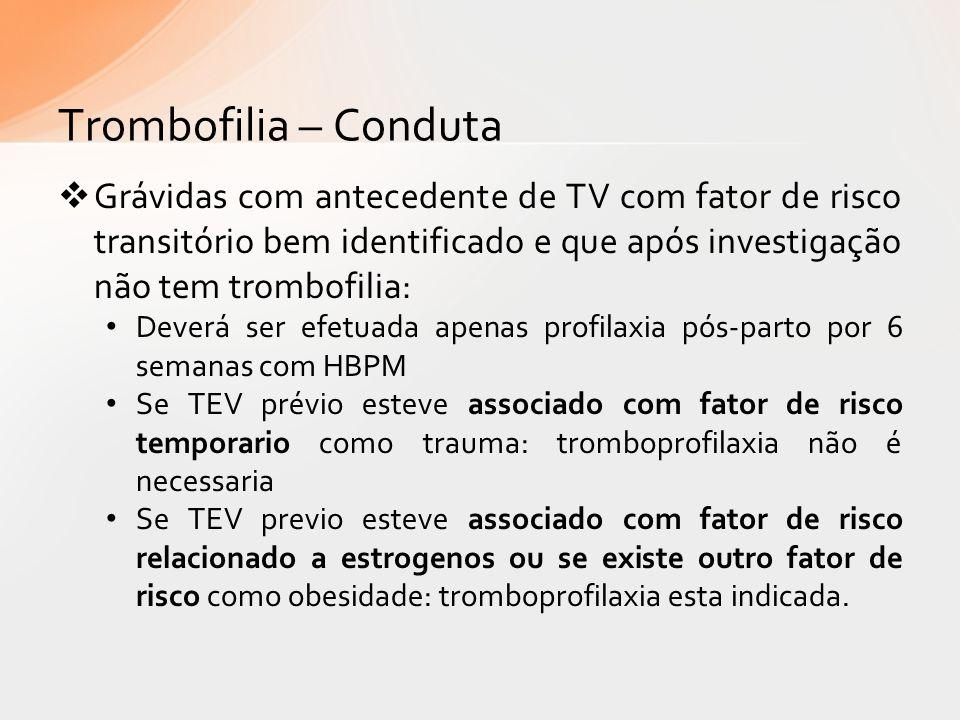 Trombofilia – Conduta Grávidas com antecedente de TV com fator de risco transitório bem identificado e que após investigação não tem trombofilia: Deve
