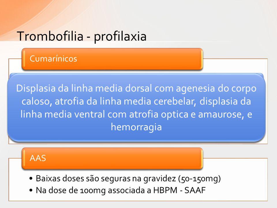 Trombofilia - profilaxia Administração oral, boa disponibilidade e fácil monitorização Atravessam placenta; risco de embriopatia (embriopatia varfarín