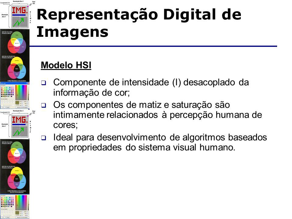 Modelo HSI Componente de intensidade (I) desacoplado da informação de cor; Os componentes de matiz e saturação são intimamente relacionados à percepção humana de cores; Ideal para desenvolvimento de algoritmos baseados em propriedades do sistema visual humano.