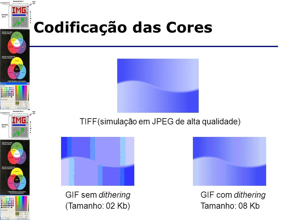 TIFF(simulação em JPEG de alta qualidade) GIF sem dithering (Tamanho: 02 Kb) GIF com dithering Tamanho: 08 Kb Codificação das Cores