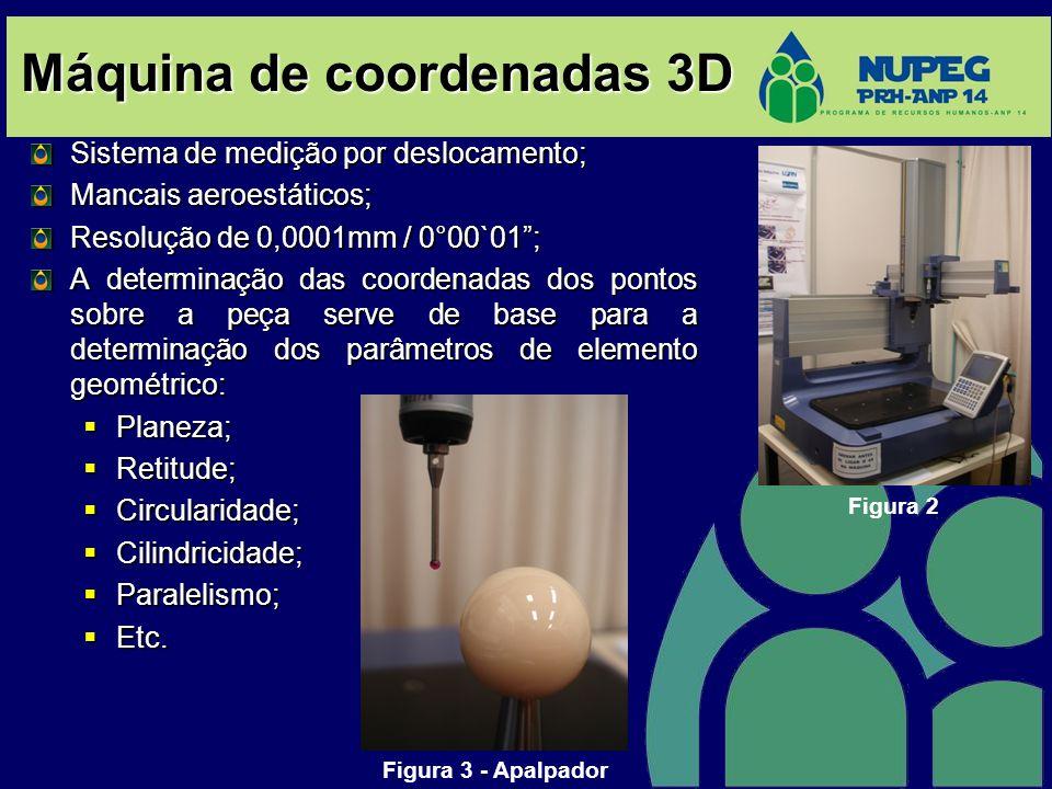 Máquina de coordenadas 3D Sistema de medição por deslocamento; Mancais aeroestáticos; Resolução de 0,0001mm / 0°00`01; A determinação das coordenadas