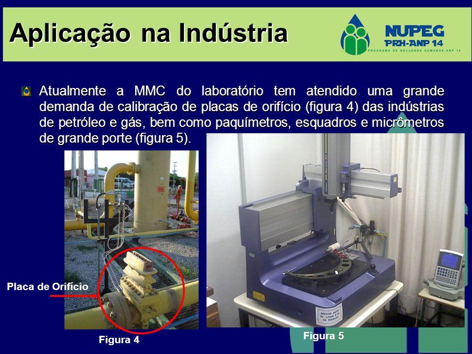 Aplicação na Indústria Atualmente a MMC do laboratório tem atendido uma grande demanda de calibração de placas de orifício (figura 4) das indústrias de petróleo e gás, bem como paquímetros, esquadros e micrômetros de grande porte (figura 5).
