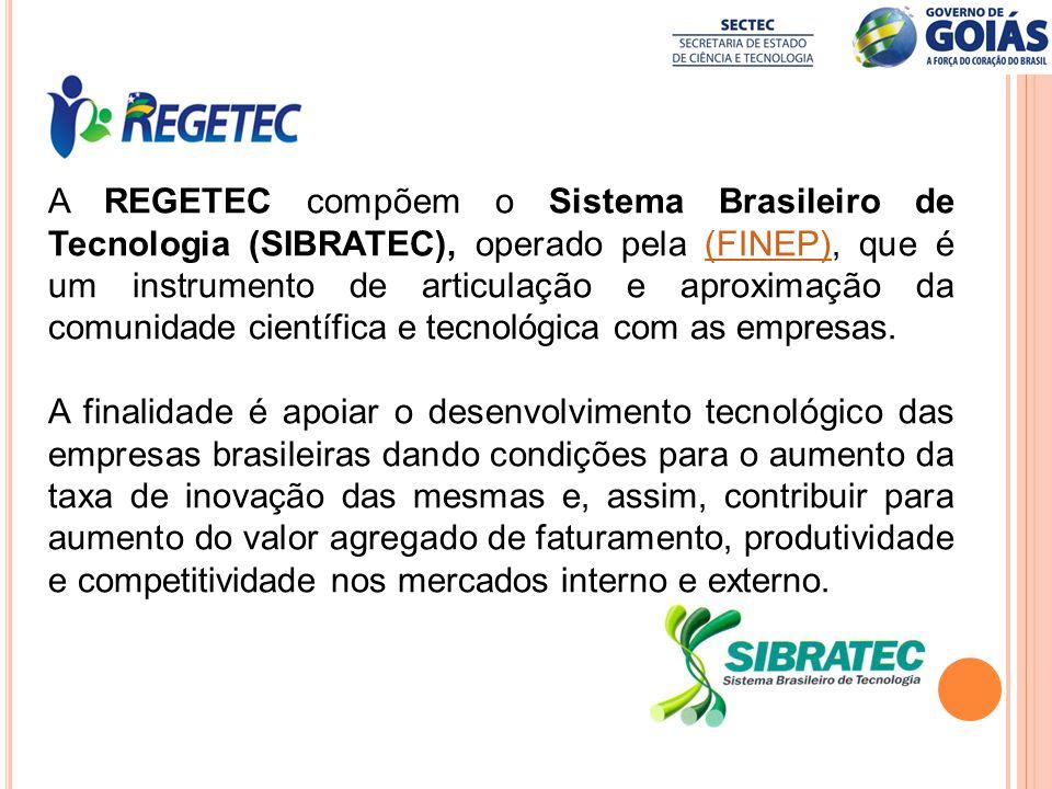 A REGETEC compõem o Sistema Brasileiro de Tecnologia (SIBRATEC), operado pela (FINEP), que é um instrumento de articulação e aproximação da comunidade