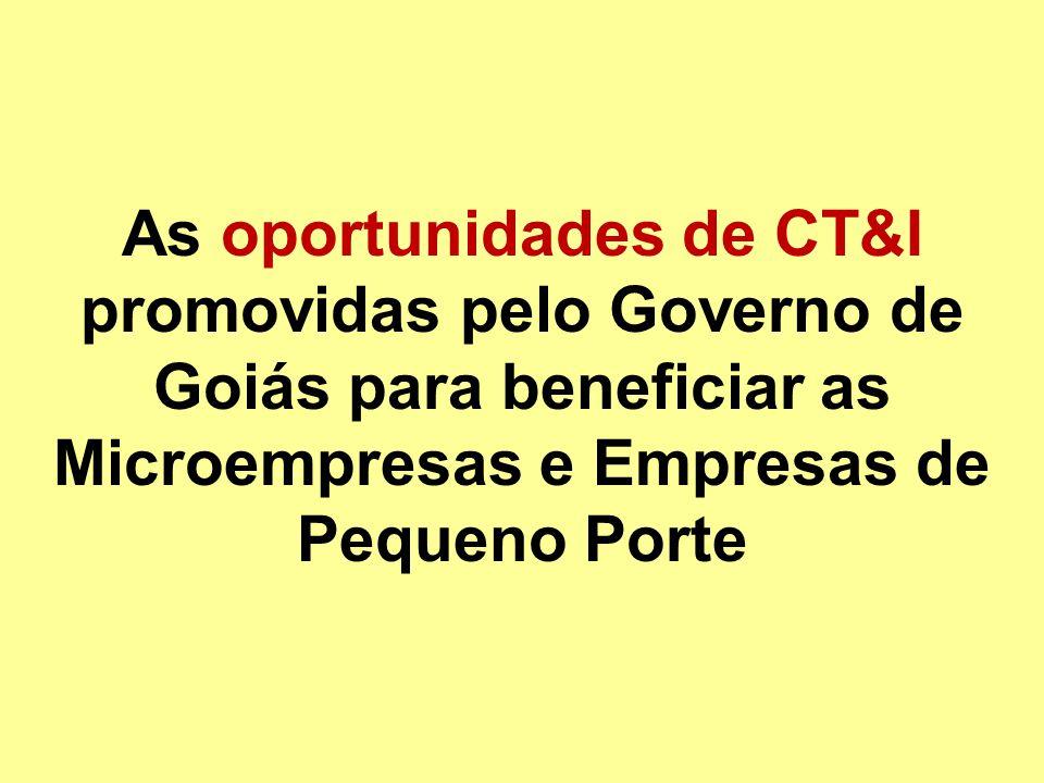 As oportunidades de CT&I promovidas pelo Governo de Goiás para beneficiar as Microempresas e Empresas de Pequeno Porte