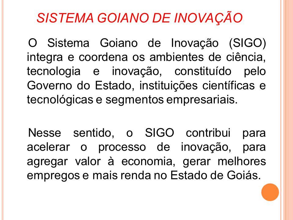 SISTEMA GOIANO DE INOVAÇÃO O Sistema Goiano de Inovação (SIGO) integra e coordena os ambientes de ciência, tecnologia e inovação, constituído pelo Gov