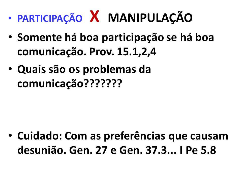 PARTICIPAÇÃO X MANIPULAÇÃO Somente há boa participação se há boa comunicação. Prov. 15.1,2,4 Quais são os problemas da comunicação??????? Cuidado: Com