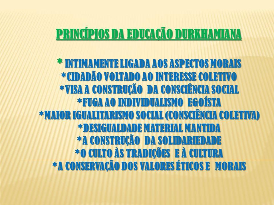 PRINCÍPIOS DA EDUCAÇÃO DURKHAMIANA * INTIMAMENTE LIGADA AOS ASPECTOS MORAIS *CIDADÃO VOLTADO AO INTERESSE COLETIVO *VISA A CONSTRUÇÃO DA CONSCIÊNCIA SOCIAL *FUGA AO INDIVIDUALISMO EGOÍSTA *MAIOR IGUALITARISMO SOCIAL (CONSCIÊNCIA COLETIVA) *DESIGUALDADE MATERIAL MANTIDA *A CONSTRUÇÃO DA SOLIDARIEDADE *O CULTO ÀS TRADIÇÕES E À CULTURA *A CONSERVAÇÃO DOS VALORES ÉTICOS E MORAIS