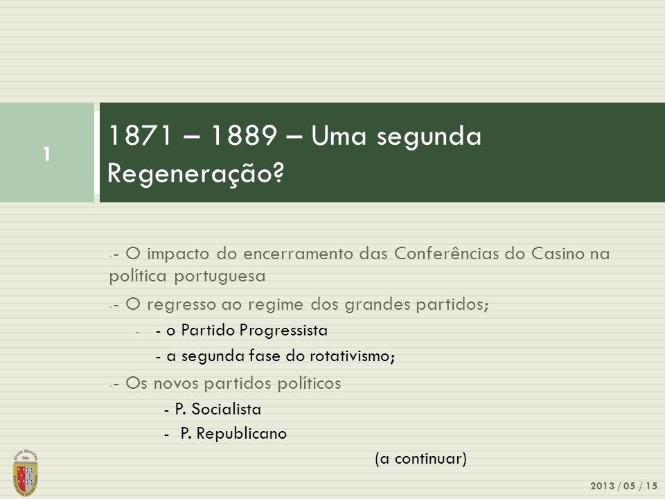 - - O impacto do encerramento das Conferências do Casino na política portuguesa - - O regresso ao regime dos grandes partidos; - - o Partido Progressi