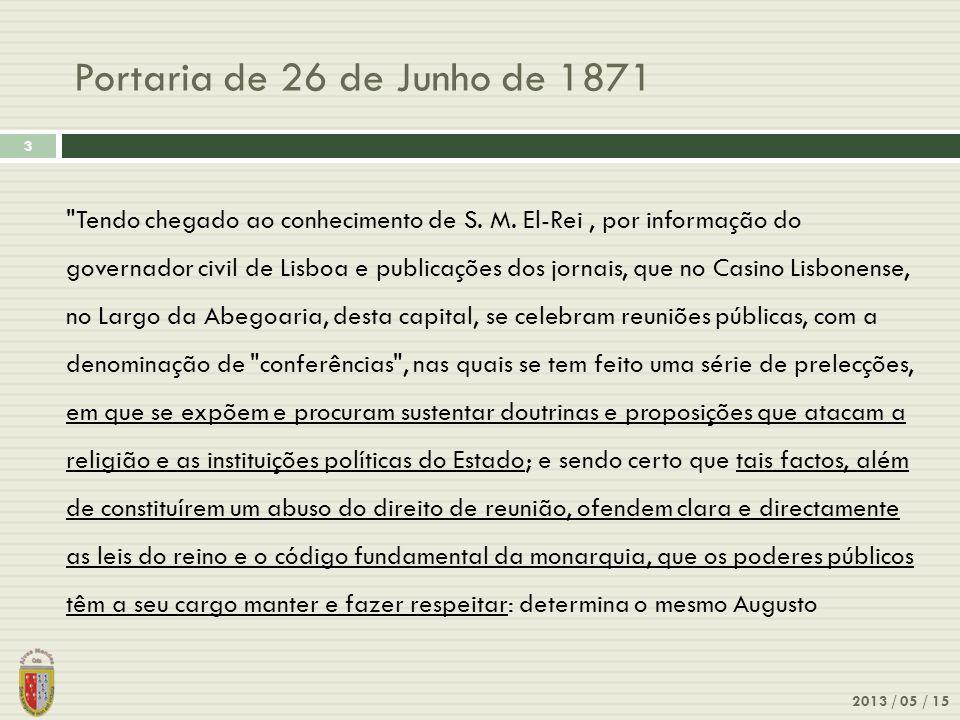 Portaria de 26 de Junho de 1871 2013 / 05 / 15 3