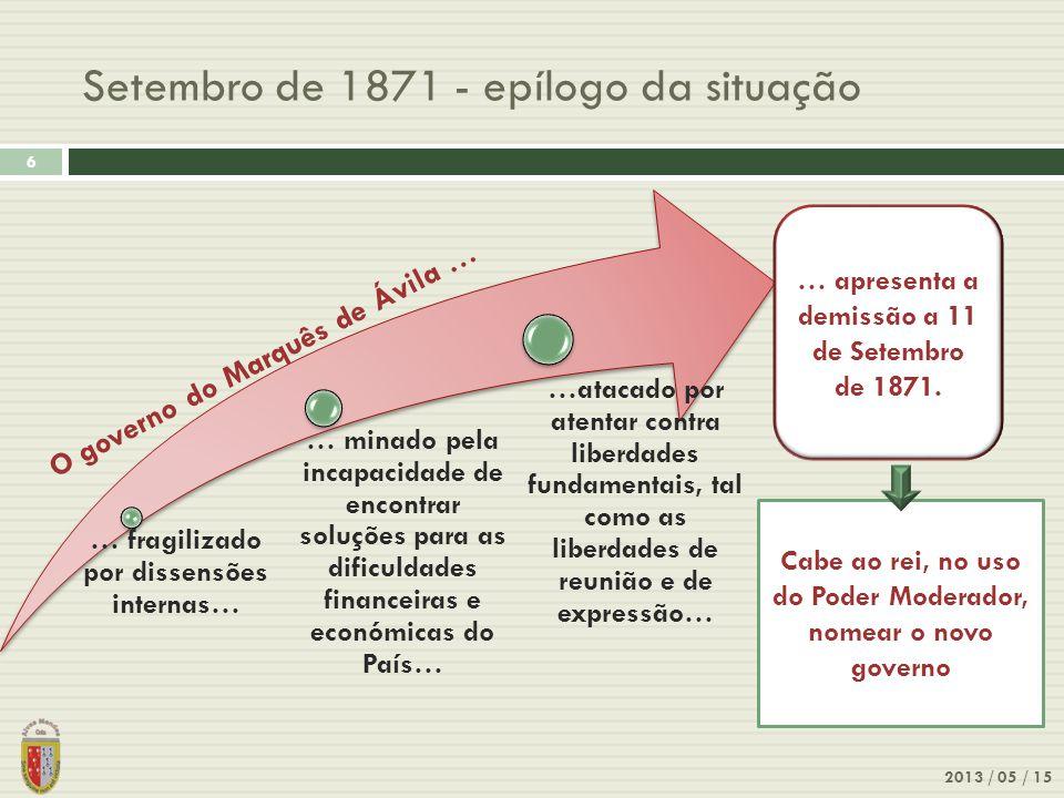 Setembro de 1871 - epílogo da situação 2013 / 05 / 15 6 …atacado por atentar contra liberdades fundamentais, tal como as liberdades de reunião e de ex