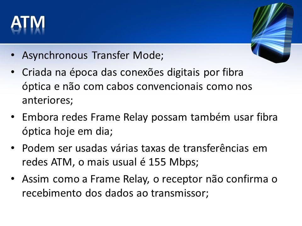 Asynchronous Transfer Mode; Criada na época das conexões digitais por fibra óptica e não com cabos convencionais como nos anteriores; Embora redes Fra