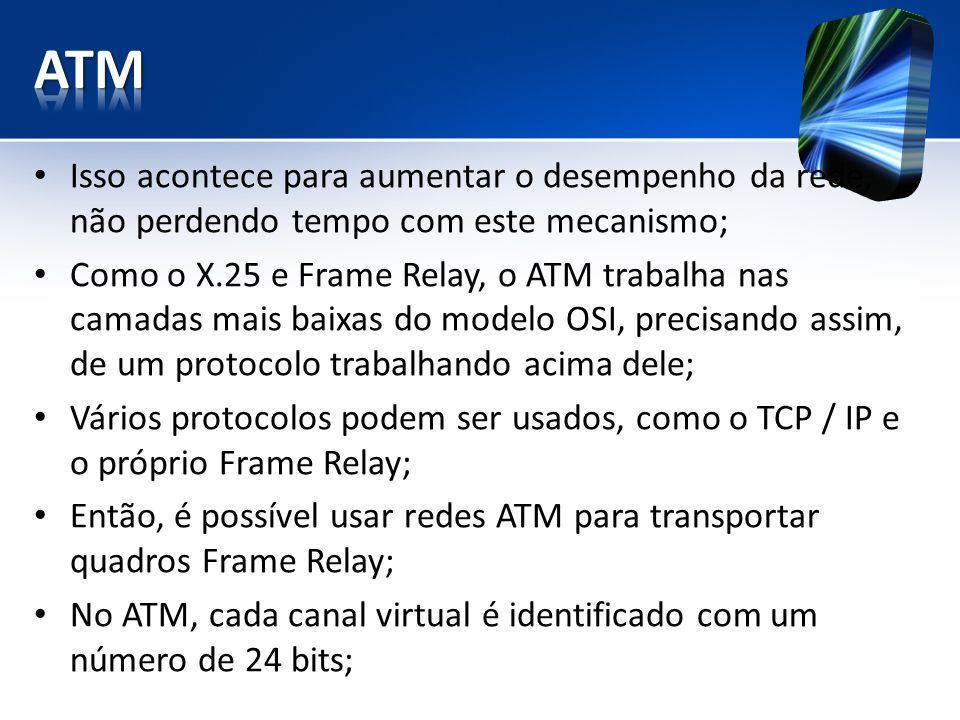 Isso acontece para aumentar o desempenho da rede, não perdendo tempo com este mecanismo; Como o X.25 e Frame Relay, o ATM trabalha nas camadas mais baixas do modelo OSI, precisando assim, de um protocolo trabalhando acima dele; Vários protocolos podem ser usados, como o TCP / IP e o próprio Frame Relay; Então, é possível usar redes ATM para transportar quadros Frame Relay; No ATM, cada canal virtual é identificado com um número de 24 bits;