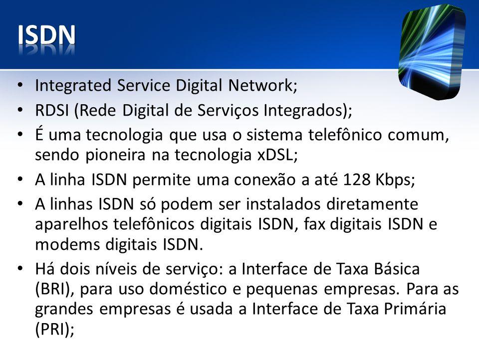 Integrated Service Digital Network; RDSI (Rede Digital de Serviços Integrados); É uma tecnologia que usa o sistema telefônico comum, sendo pioneira na tecnologia xDSL; A linha ISDN permite uma conexão a até 128 Kbps; A linhas ISDN só podem ser instalados diretamente aparelhos telefônicos digitais ISDN, fax digitais ISDN e modems digitais ISDN.