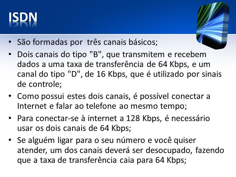São formadas por três canais básicos; Dois canais do tipo B , que transmitem e recebem dados a uma taxa de transferência de 64 Kbps, e um canal do tipo D , de 16 Kbps, que é utilizado por sinais de controle; Como possui estes dois canais, é possível conectar a Internet e falar ao telefone ao mesmo tempo; Para conectar-se à internet a 128 Kbps, é necessário usar os dois canais de 64 Kbps; Se alguém ligar para o seu número e você quiser atender, um dos canais deverá ser desocupado, fazendo que a taxa de transferência caia para 64 Kbps;