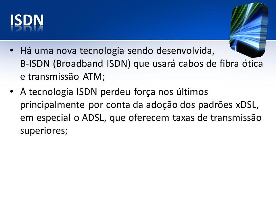 Há uma nova tecnologia sendo desenvolvida, B-ISDN (Broadband ISDN) que usará cabos de fibra ótica e transmissão ATM; A tecnologia ISDN perdeu força no