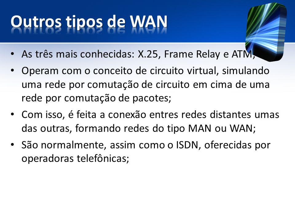 As três mais conhecidas: X.25, Frame Relay e ATM; Operam com o conceito de circuito virtual, simulando uma rede por comutação de circuito em cima de uma rede por comutação de pacotes; Com isso, é feita a conexão entres redes distantes umas das outras, formando redes do tipo MAN ou WAN; São normalmente, assim como o ISDN, oferecidas por operadoras telefônicas;