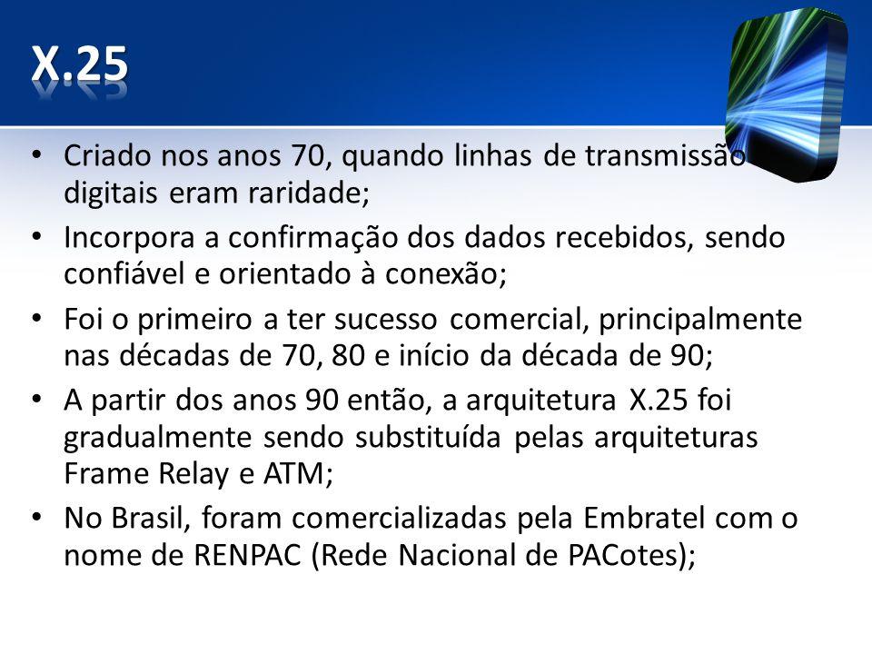 Criado nos anos 70, quando linhas de transmissão digitais eram raridade; Incorpora a confirmação dos dados recebidos, sendo confiável e orientado à conexão; Foi o primeiro a ter sucesso comercial, principalmente nas décadas de 70, 80 e início da década de 90; A partir dos anos 90 então, a arquitetura X.25 foi gradualmente sendo substituída pelas arquiteturas Frame Relay e ATM; No Brasil, foram comercializadas pela Embratel com o nome de RENPAC (Rede Nacional de PACotes);