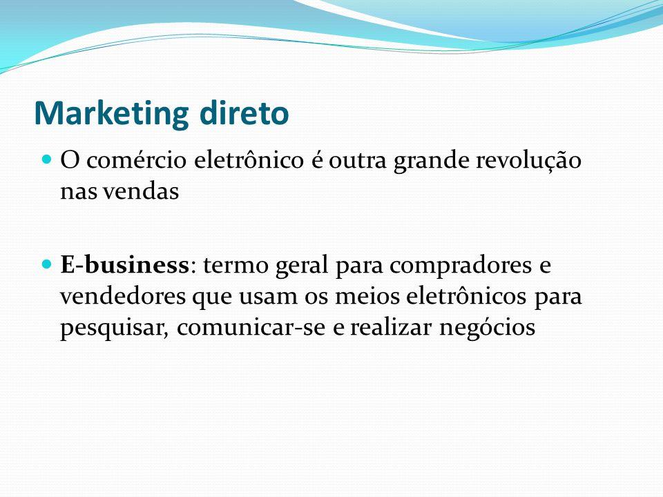Marketing direto O comércio eletrônico é outra grande revolução nas vendas E-business: termo geral para compradores e vendedores que usam os meios ele
