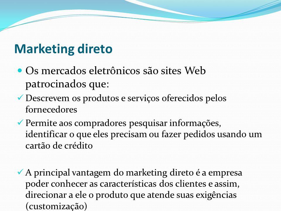 Marketing direto Os mercados eletrônicos são sites Web patrocinados que: Descrevem os produtos e serviços oferecidos pelos fornecedores Permite aos co