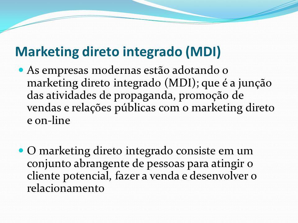 Marketing direto integrado (MDI) As empresas modernas estão adotando o marketing direto integrado (MDI); que é a junção das atividades de propaganda,