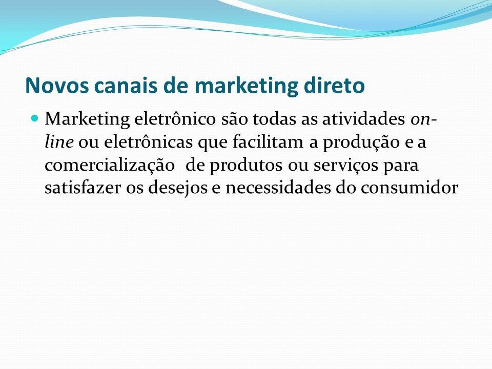 Novos canais de marketing direto Marketing eletrônico são todas as atividades on- line ou eletrônicas que facilitam a produção e a comercialização de