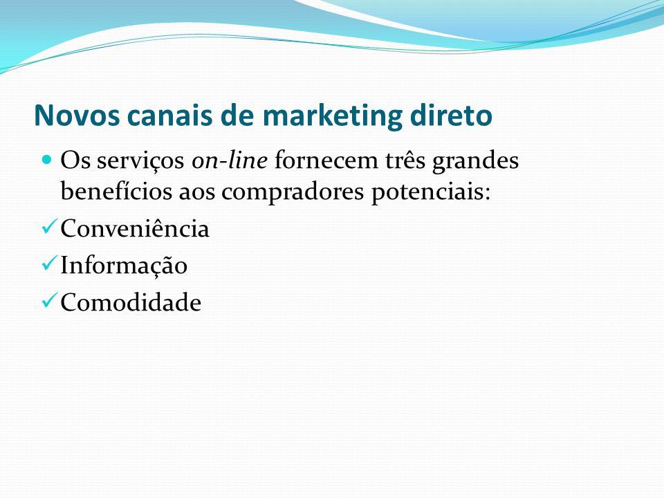 Novos canais de marketing direto Os serviços on-line fornecem três grandes benefícios aos compradores potenciais: Conveniência Informação Comodidade
