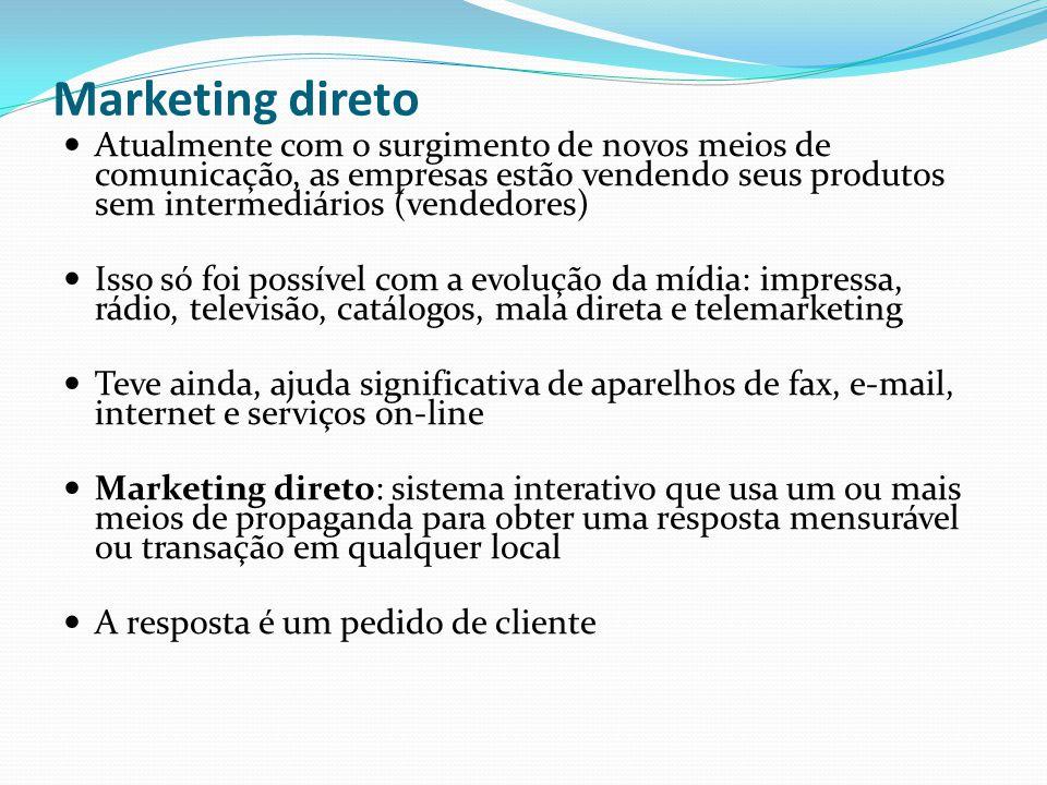 Marketing direto Atualmente com o surgimento de novos meios de comunicação, as empresas estão vendendo seus produtos sem intermediários (vendedores) I