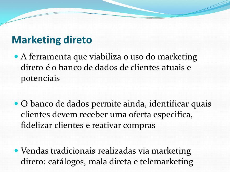 Marketing direto A ferramenta que viabiliza o uso do marketing direto é o banco de dados de clientes atuais e potenciais O banco de dados permite aind