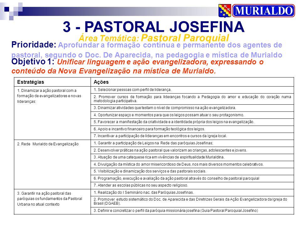 3 - PASTORAL JOSEFINA Área Temática: Pastoral Paroquial Prioridade: Aprofundar a formação contínua e permanente dos agentes de pastoral, segundo o Doc