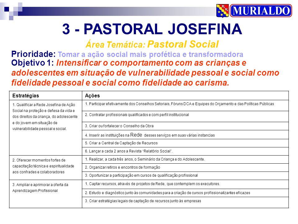 3 - PASTORAL JOSEFINA Área Temática: Pastoral Social Prioridade: Tomar a ação social mais profética e transformadora EstratégiasAções 1. Qualificar a