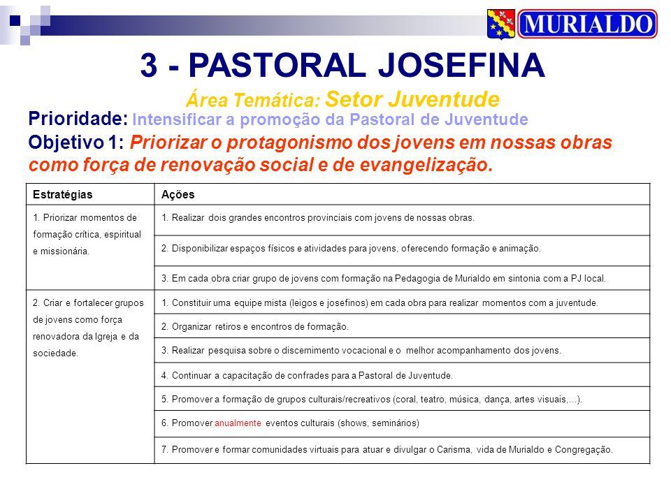 3 - PASTORAL JOSEFINA Área Temática: Setor Juventude Prioridade: Intensificar a promoção da Pastoral de Juventude EstratégiasAções 1. Priorizar moment