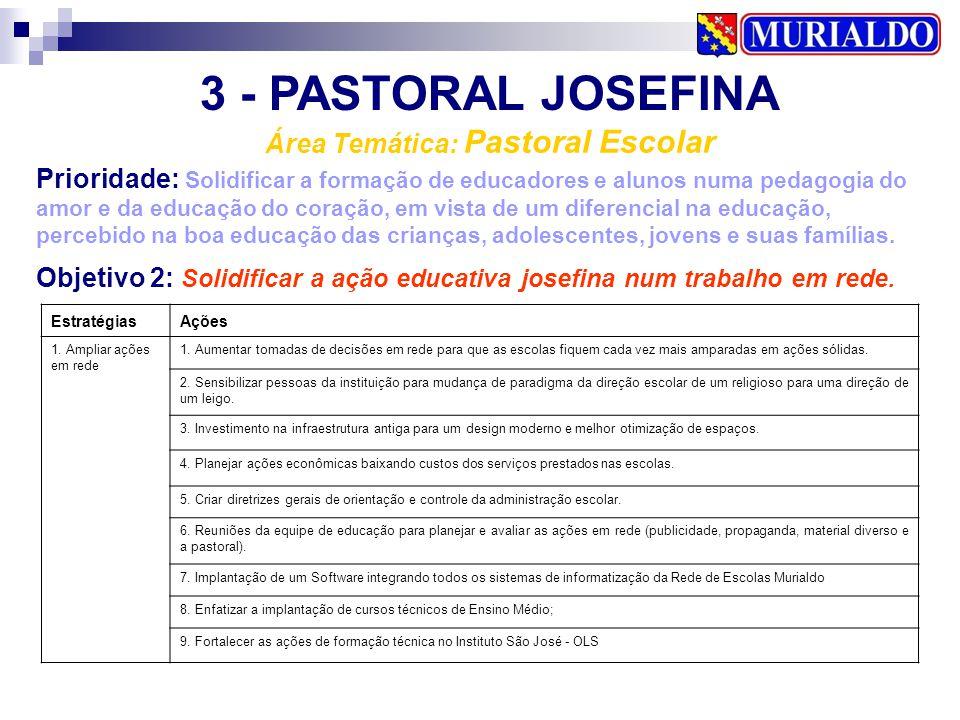 3 - PASTORAL JOSEFINA Área Temática: Pastoral Escolar Prioridade: Solidificar a formação de educadores e alunos numa pedagogia do amor e da educação d