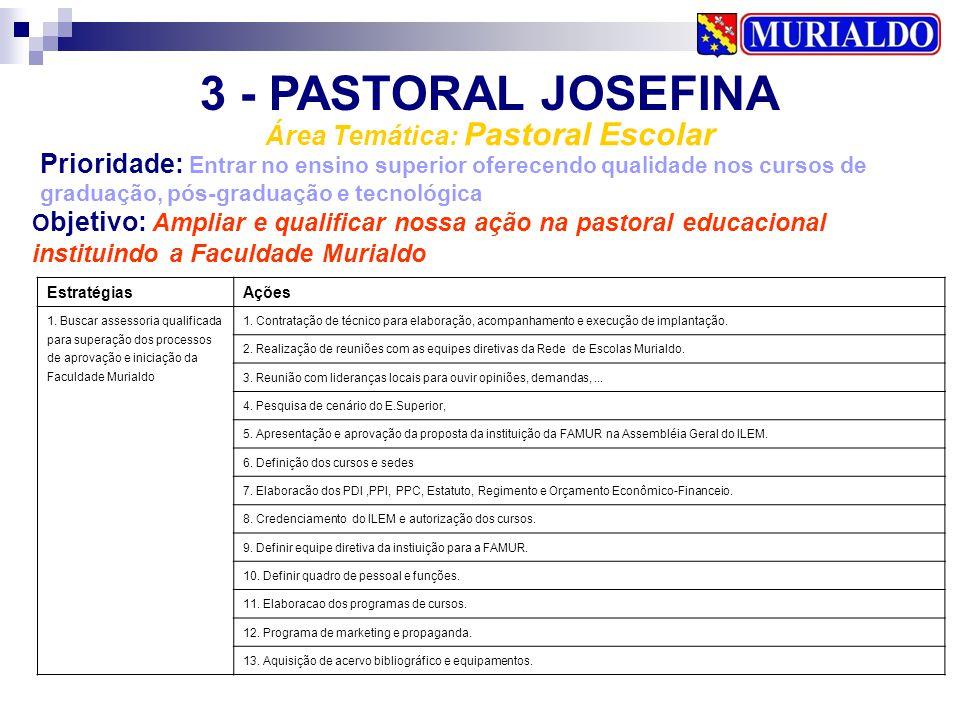 3 - PASTORAL JOSEFINA Área Temática: Pastoral Escolar Prioridade: Entrar no ensino superior oferecendo qualidade nos cursos de graduação, pós-graduaçã