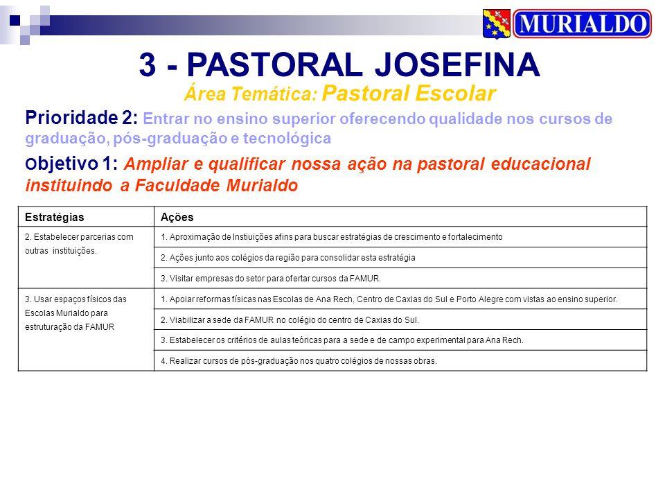 3 - PASTORAL JOSEFINA Área Temática: Pastoral Escolar Prioridade 2: Entrar no ensino superior oferecendo qualidade nos cursos de graduação, pós-gradua