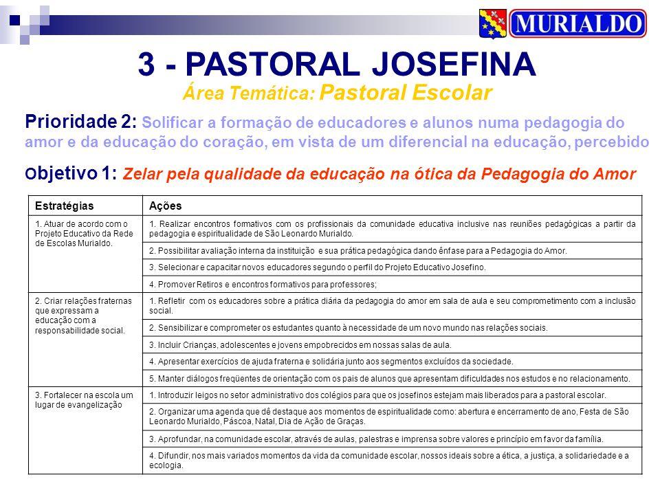 3 - PASTORAL JOSEFINA Área Temática: Pastoral Escolar Prioridade 2: Solificar a formação de educadores e alunos numa pedagogia do amor e da educação d