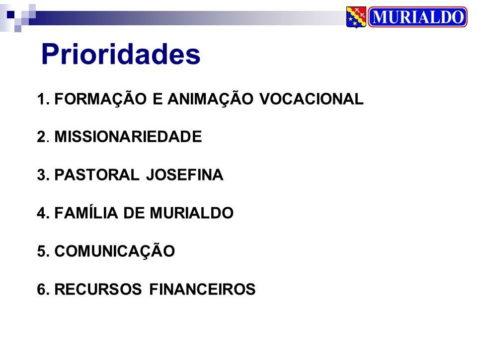 1. FORMAÇÃO E ANIMAÇÃO VOCACIONAL 2. MISSIONARIEDADE 3. PASTORAL JOSEFINA 4. FAMÍLIA DE MURIALDO 5. COMUNICAÇÃO 6. RECURSOS FINANCEIROS Prioridades