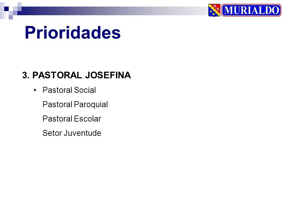 3. PASTORAL JOSEFINA Prioridades Pastoral Social Pastoral Paroquial Pastoral Escolar Setor Juventude