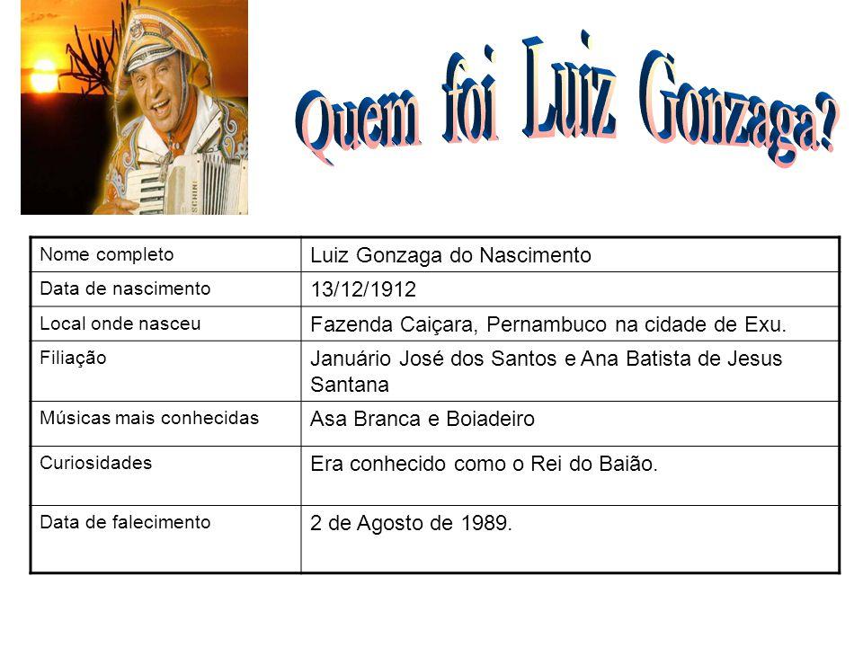 Nome completo Luiz Gonzaga do Nascimento Data de nascimento 13/12/1912 Local onde nasceu Fazenda Caiçara, Pernambuco na cidade de Exu. Filiação Január