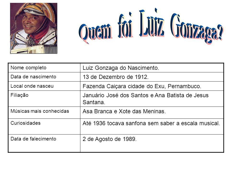 Nome completo Luiz Gonzaga do Nascimento. Data de nascimento 13 de Dezembro de 1912. Local onde nasceu Fazenda Caiçara cidade do Exu, Pernambuco. Fili