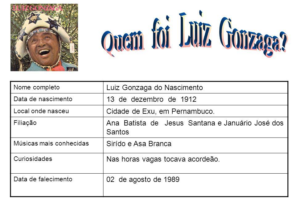 Nome completo Luiz Gonzaga do Nascimento Data de nascimento 13 de dezembro de 1912 Local onde nasceu Cidade de Exu, em Pernambuco. Filiação Ana Batist