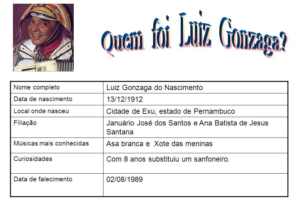 Nome completo Luiz Gonzaga do Nascimento Data de nascimento 13/12/1912 Local onde nasceu Cidade de Exu, estado de Pernambuco Filiação Januário José do