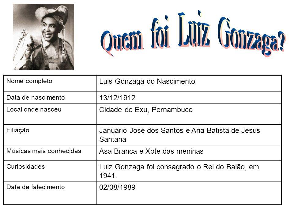 Nome completo Luis Gonzaga do Nascimento Data de nascimento 13/12/1912 Local onde nasceu Cidade de Exu, Pernambuco Filiação Januário José dos Santos e