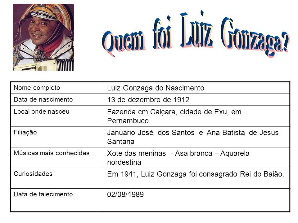 Nome completo Luiz Gonzaga do Nascimento Data de nascimento 13 de dezembro de 1912 Local onde nasceu Fazenda cm Caiçara, cidade de Exu, em Pernambuco.