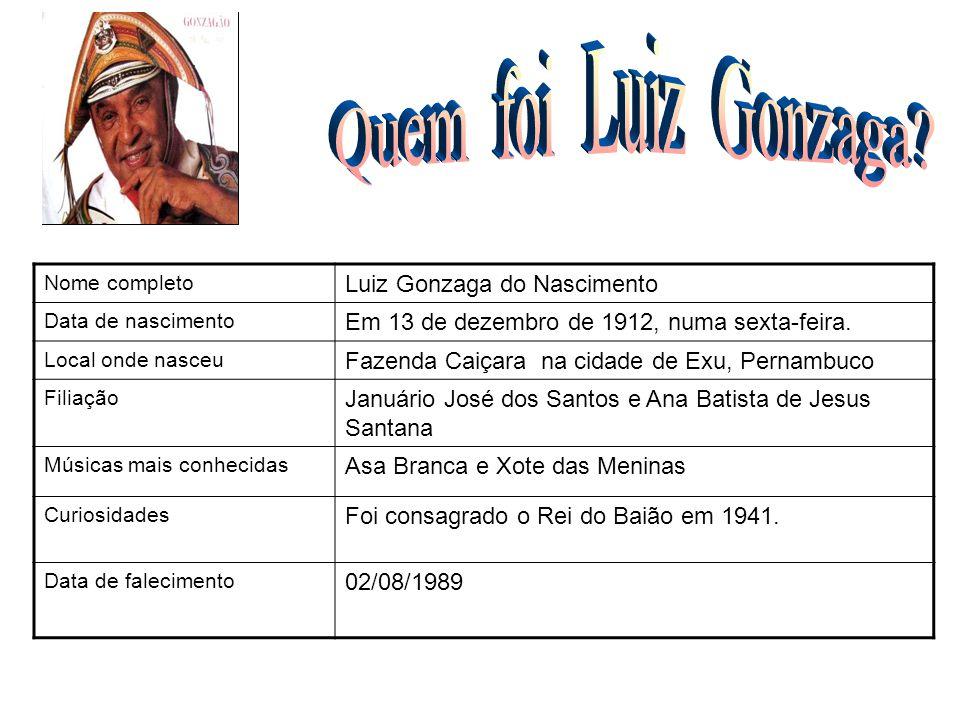 Nome completo Luiz Gonzaga do Nascimento Data de nascimento Em 13 de dezembro de 1912, numa sexta-feira. Local onde nasceu Fazenda Caiçara na cidade d