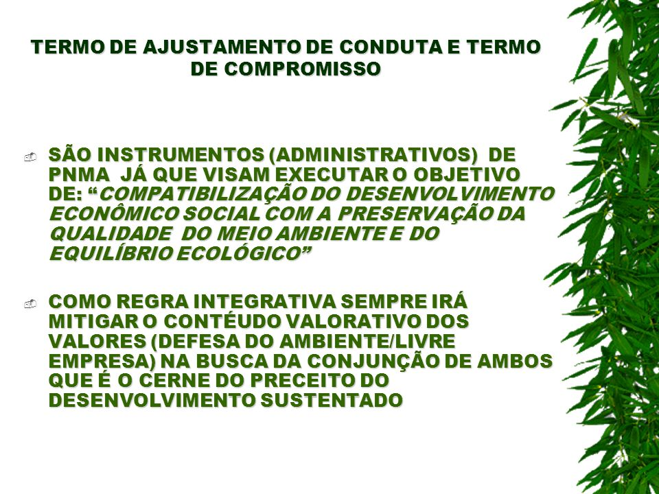 TERMO DE AJUSTAMENTO DE CONDUTA E TERMO DE COMPROMISSO SÃO INSTRUMENTOS (ADMINISTRATIVOS) DE PNMA JÁ QUE VISAM EXECUTAR O OBJETIVO DE: COMPATIBILIZAÇÃ